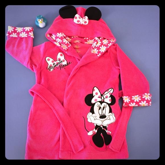 Disney Minnie Mouse 2T Hot Pink Bathrobe EUC 4fbacda49